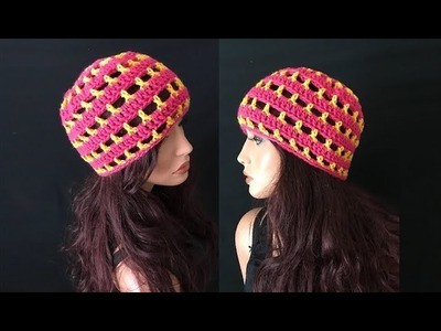 How to Crochet Super Easy Beanie Hat Pattern #736│by ThePatternFamily