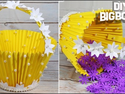 How to make flower basket with paper | Beautiful and Simple way | 2018