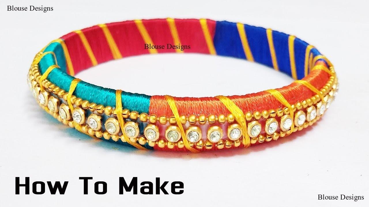 How to make silk thread bangles in telugu. silk thread jewellery making. bridal tutorial