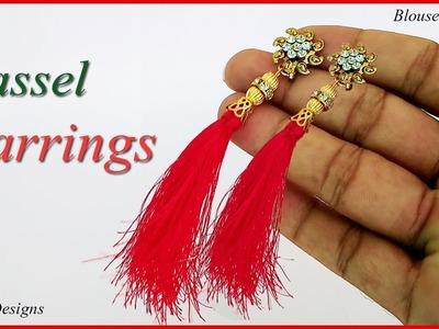 How to make silk thread Tassel earrings | make earring at home | jewelry making