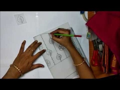 How to trace design on blouse matching with Saree in easy way - Aari embroidery. Maggam work