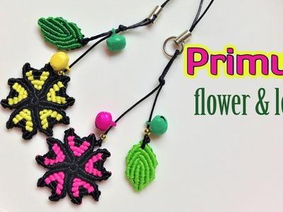 Macrame tutorial: the flower and leaf of primula keychain - Hướng dẫn thắt dây móc khóa hoa và lá