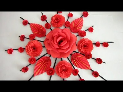 Paper Flower Wall Hanging. Newspaper Craft. DIY Hanging Flower - Wall Decoration ideas