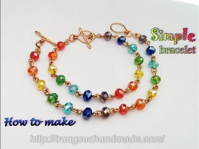 Simple bracelet with crystal beads Colours of the Rainbow 378