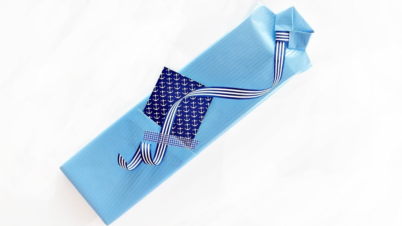 Stylish Shirt Style Gift Wrapping for Father's Day