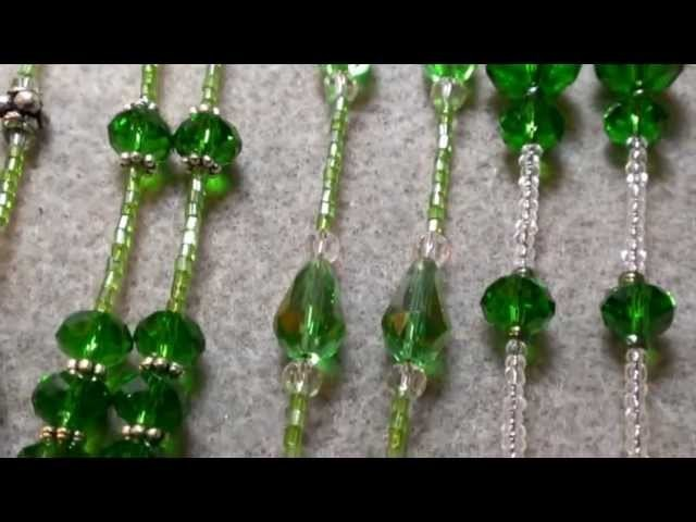 Beaded Lanyards with Green Crystals