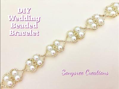 Beaded Wedding Bracelet. Easy Beading. How to make beaded bracelet