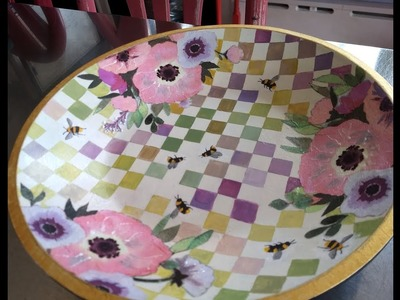 Checkered Bowl in Flowers and Bees -- Decoupage & Acrylic Painting
