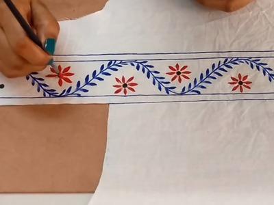 Convert Plain. Old  Kurti into Designer Kurti H and Painted Neckline