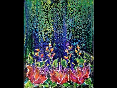 DA62 Acrylic Pouring Swipe on Black Abstract Flowers and More with Sandra Lett 050818