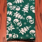 Dinner Napkins - Christmas Dinner Napkins - Green and White - Snowmen and Christmas Trees - Handmade