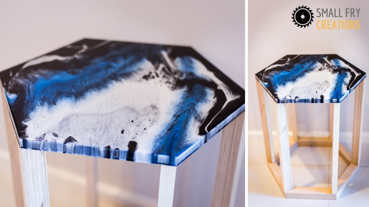 DIY | Side table with resin art top #rocklerplywoodchallenge