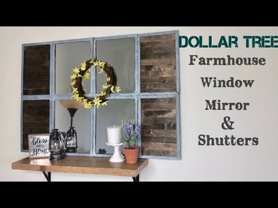 Dollar Tree DIY FARMHOUSE Mirror Window and Shutters