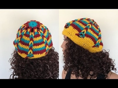 How to Crochet a Braided Hat with Scrap Yarn Pattern #734│by ThePatternFamily