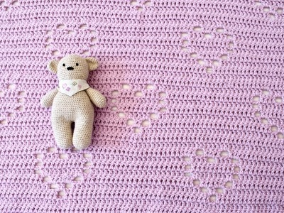 How to crochet an easy heart blanket - cute baby blanket tutorial (any size)