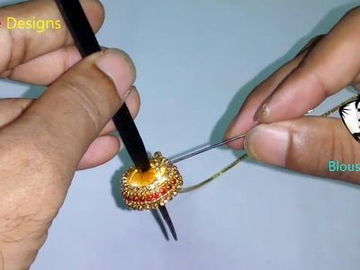 How to make party wear silk thread earrings, Beautiful women gold bridal +earring