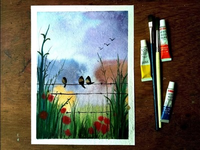 How to paint birds on a wire landscape with watercolor - EASY