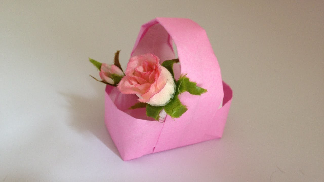 88 Origami Basket Instructions Paper Origami Basket With Handle