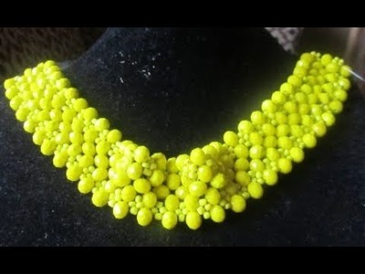 Tutorial on how to make this beautiful beaded yellow necklaces