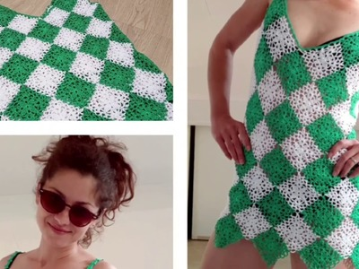 Beach Cover Up Dress with Granny Squares.