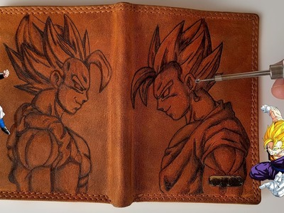 Burning Vegito vs Gogeta on a Leather Wallet with 3Dsimo mini