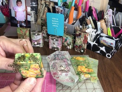 Craft Fair Decorated wood blocks with a tip