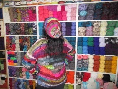 Crochet gorro con sobrantes de lanas