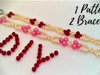 DIY simple bracelets with pearl beads and crystal beads. Easy beading tutorial