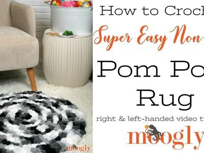 How to Crochet: Super Easy Non-Slip Pom Pom Rug (Left Handed)