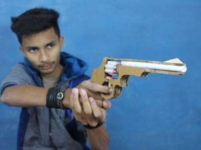 How To Make A Automatic Revolver That Shoots (cardboard gun)