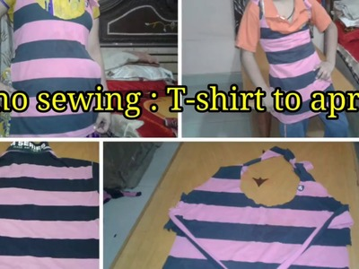 No sewing : old T-shirt to apron. DIY