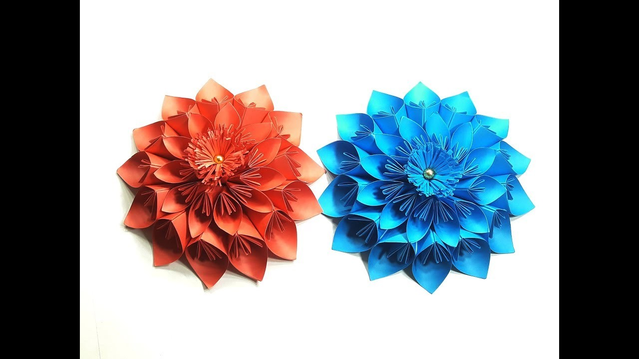 Origami Paper Flower Tutorial Giant Paper Flowers For Home Wall