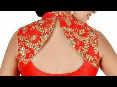 Back neck design with collar for blouse| designer back neck with collar cutting and stitching