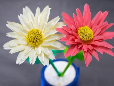 Beautiful Flower Making of Color Paper | How To Make A Daisy Paper Flower | Paper Craft
