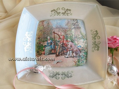 Decoupage a glass plate tutorial for beginners DIY
