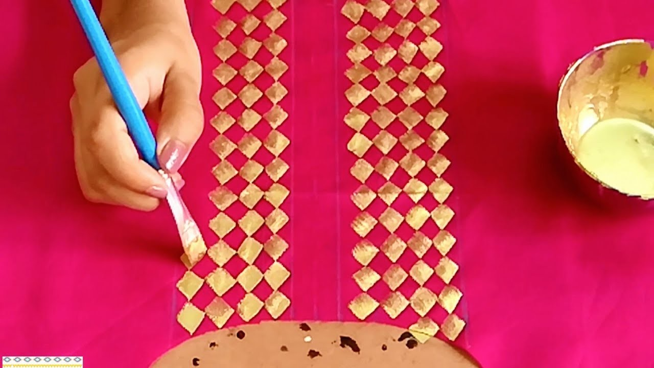 Designer Golden Checker Print Painting on Kurti, Easy Fabric
