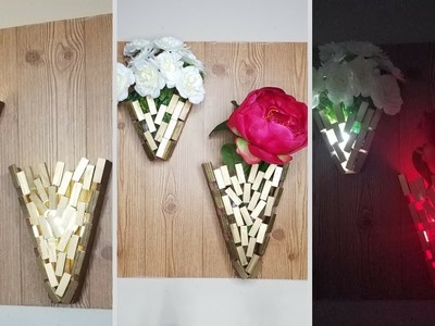 Diy 3D Wooden Wall Vases & Lighting! Simple and Inexpensive Wall Decorating Idea!
