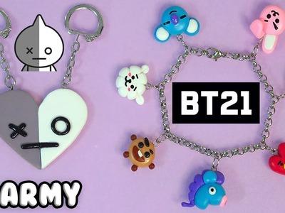 ????????DIY: BFF Keychain of Van (Army) and BT21 Bracelet (BTS) K-POP ????????
