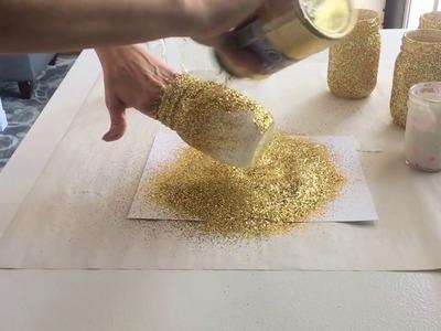 DIY Gold Glitter Mason Jars