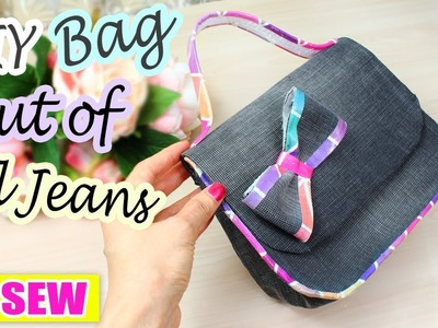 DIY JEANS PURSE BAG | Jeans Transform Idea NO SEW