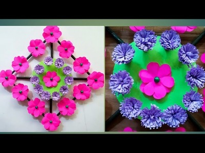 Diy paper flower wall hanging.Simple and beautiful wall hanging.Wall decoration by KovaiCraft #26