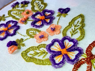 Hand Embroidery | Kashmiri.Kashida Embroidery with Chain Stitch flower design.