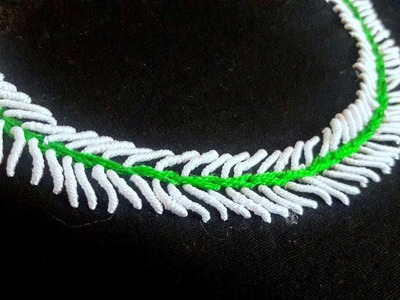 Hand embroidery. Neck design brazilian stitch for dresses and blouses. Hand embroidery stitches.