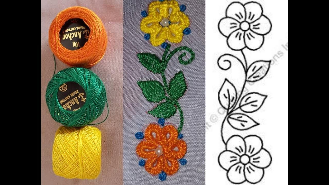 Hand Embroidery Saree Border Brazilian Hand Stitch Embroidery Design