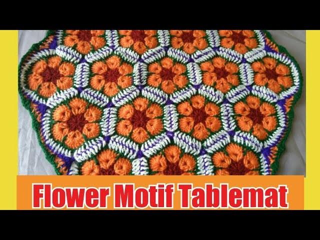 How to crochet flower motif tablemat #  Thalposh # in marathi # English subtitles