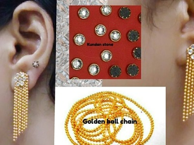 How to make earring with Golden Ball chain and Kundan stone  at home - Tutorial