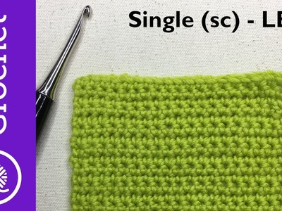 How to Single Crochet - Beginner Crochet Lesson 1 - Left Handed (CC)