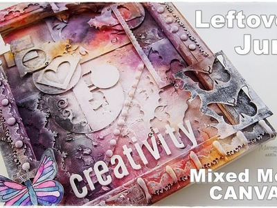 JUNK Chipboards Leftovers Mixed Media Canvas ♡ Maremi's Small Art ♡