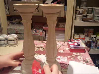 Large Altered Shabby Chic Candlesticks - Bargain from B&M