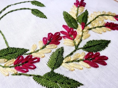 Lazy daisy stitch for beautiful flower design   Hand embroidery designs by Nakshi Katha